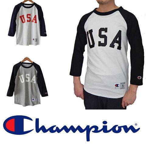 CHAMPION チャンピオン USA ラグランUSA ロゴ 七分袖 ベースボールtシャツ