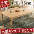 センターテーブル ローテーブル 座卓 北欧系 こたつ 120x75cm 長方形