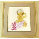 A rabbit and amount of baby picture painted by a child colored paper hanging scroll hanging scroll of the picture Chihiro Iwasaki pink