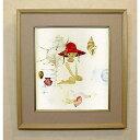 絵画 いわさきちひろ 貝殻と赤い帽子の少女 額 児童画 色紙 送料無料