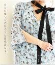 大人の愛らしさを詰め込んで。 ワンピース チュニック ショート ブルー 青 水色 花柄 フラワー リボン レディースファッション M L Mサ..