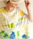 パレットのように、色が躍る トップス ワンピース ミディアム 半袖 グリーン green 綿 春夏 レディースファッション ナチュラル mori ..