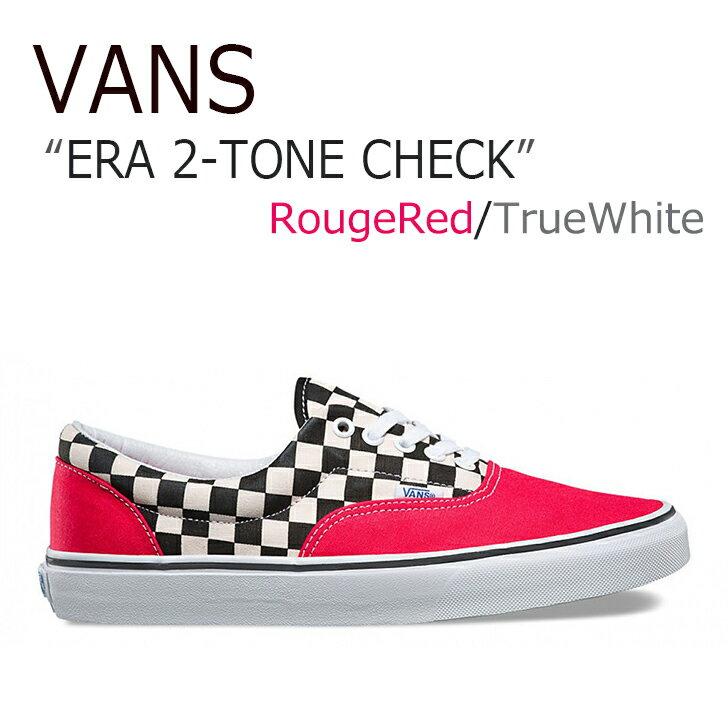 VANS ERA 2-TONE CHECK/Rouge Red/True White【バンズ】【エラ】【ツートーン】【VN0A38FRMV5】 シューズ