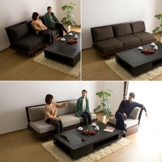 ソファソファー3人掛け/Hida和風モダンウッドフレーム木製布地sofa