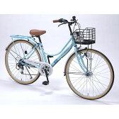 【送料無料】 自転車 26インチ ライト LED 軽量 4色 クールミント おしゃれ マイパラス M-504-MT 【同梱配送不可】【代引き不可】【沖縄・離島配送不可】