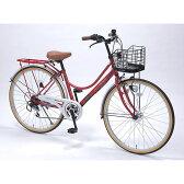 【送料無料】 自転車 26インチ ライト LED 軽量 4色 赤 レッド おしゃれ マイパラス M-504-RD 【同梱配送不可】【代引き不可】【沖縄・離島配送不可】