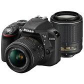 【送料無料】Nikon D3300 ダブルズームキット2 ブラック [デジタル一眼レフカメラ (2416万画素)]