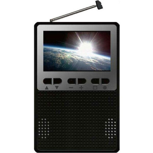 【送料無料】ポケットテレビラジオ 3インチ液晶 防災 災害 小型 AKART. AK-PKTVR03-BK ブラック AM/FMラジオ