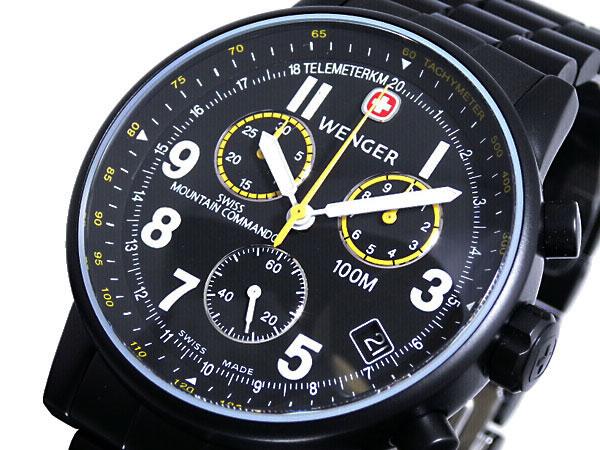 ウェンガー WENGER 腕時計 スイス製 コマンド クロノグラフ 70705XL メンズ ブラック メタルベルト ベルト調整工具無料/送料無料/WENGER ウェンガー 時計 腕時計 ウ