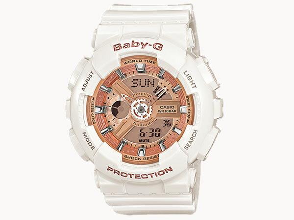 カシオ CASIO ベビーG BABY-G 逆輸入 アナデジ レディース 腕時計 BA-110-7A1 ホワイト ラバーベルト 送料無料/Baby-G ベビージー 時計 腕時計 ウォッチ