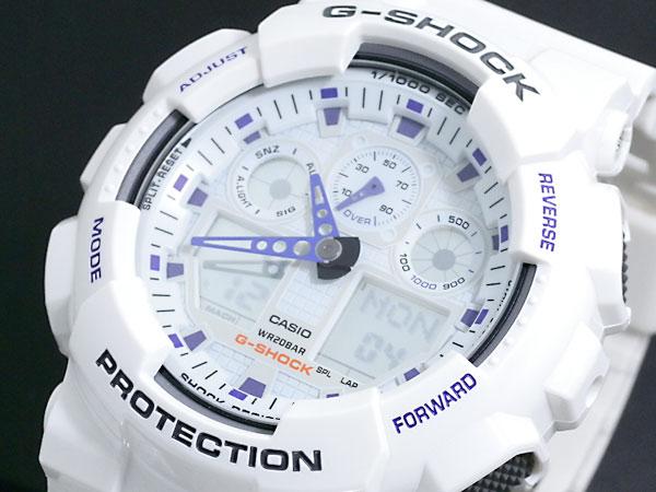 カシオ CASIO Gショック G-SHOCK アナデジ 腕時計 GA-100A-7A メンズ ホワイト×パープル ラバーベルト 送料無料/G-SHOCK ジーショック 時計 腕時計 ウォッチ