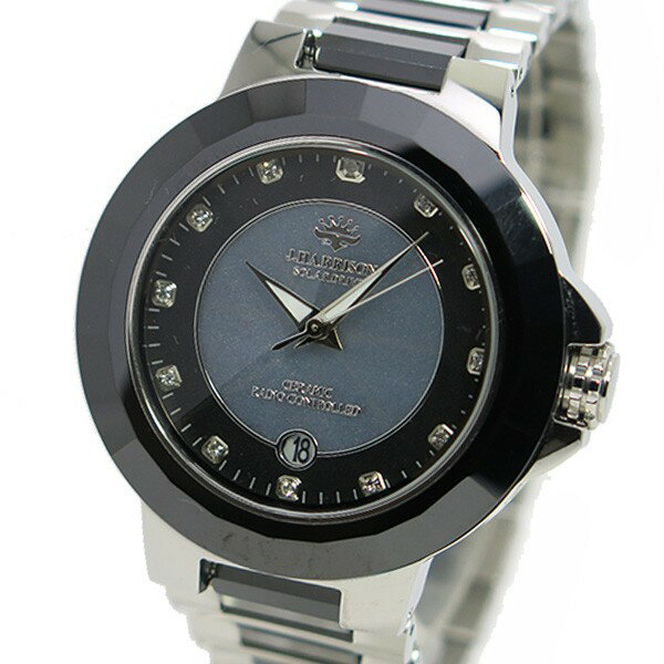 ジョンハリソン ソーラー 電波時計 メンズ 腕時計 JH-028SB グレー×シルバー 送料無料/JACQUES LEMANS 時計 腕時計 ウォッチシャイニー