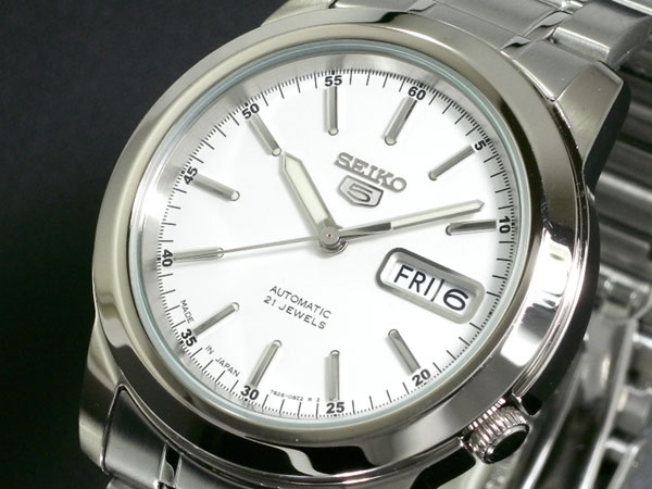 SEIKO 5 セイコー5 逆輸入 日本製 自動巻き メンズ 腕時計 SNKE49J1 ホワイト×シルバー メタルベルト 送料無料/SEIKO 5 セイコーファイブ 時計 腕時計 逆輸入