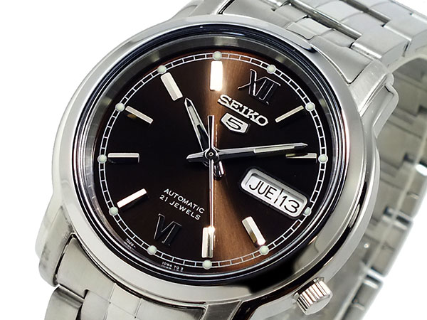 SEIKO 5 セイコー5 逆輸入 自動巻き メンズ 腕時計 SNKK79K1 ブラウン×シルバー メタルベルト