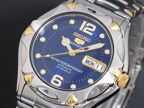セイコー SEIKO 5 SPORTS 逆輸入 日本製 自動巻き メンズ 腕時計 SNZ458J1 ブルー×シルバー メタルベルト 送料無料/SEIKO 5 SPORTS 時計 腕時計 逆輸入