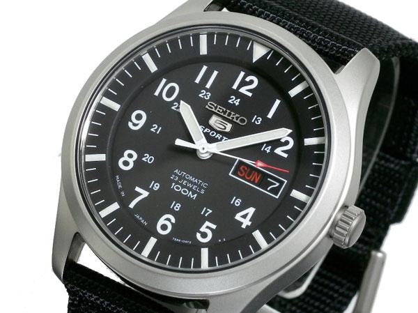 セイコー SEIKO 5 SPORTS スポーツ 逆輸入 日本製 自動巻き メンズ 腕時計 SNZG15J1 ブラック ナイロンベルト