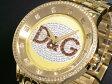 D&G ドルチェ&ガッバーナ 腕時計 ラインストーン プライムタイム DW0379 メンズ ゴールド×シルバー メタルベルト