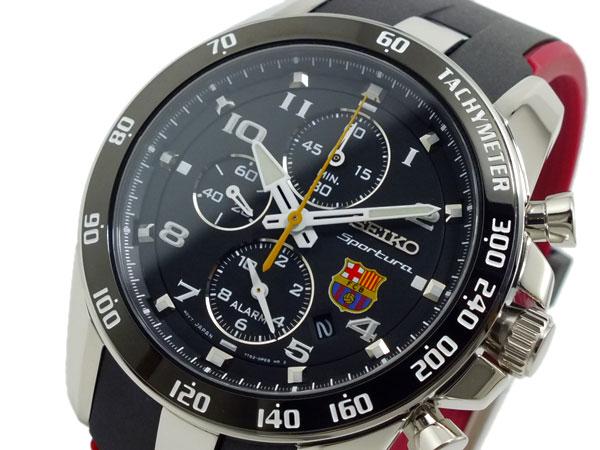 セイコー SEIKO FCバルセロナ D&G ブルガリ 逆輸入 アラーム クロノグラフ メンズ 腕時計 GUCCI SNAE93P1 ブラック×レッド ラバーベルト:AAA net Shop 送料無料/SEIKO クロノ 時計 腕時計 逆輸入