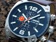 ディーゼル DIESEL オーバーフロー Overflow クロノグラフ ブラック×ブラウンレザーベルト 腕時計 メンズ DZ4204