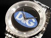 D&G ドルチェ&ガッバーナ 腕時計 ラインストーン プライムタイム DW0849 メンズ ブラック×ブルー シルバー メタルベルト