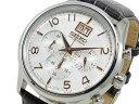 セイコー SEIKO 逆輸入 ビッグデイト クロノグラフ メンズ 腕時計 SPC087P1 シルバー×ブラック レザーベルト