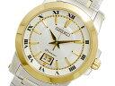 セイコー SEIKO プルミエ 逆輸入 ビッグデイト メンズ 腕時計 SUR016P1 ゴールド×シルバー メタルベルト