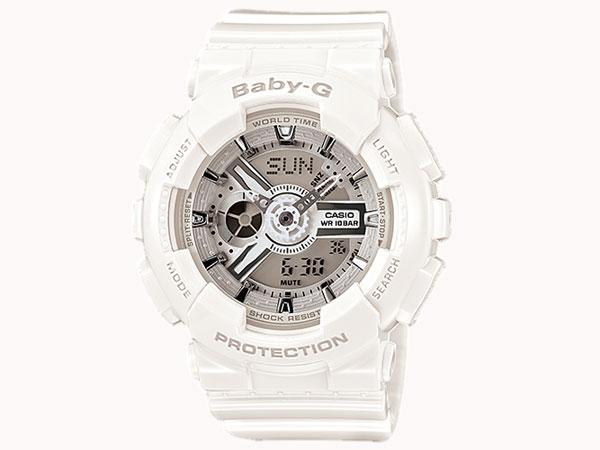 カシオ CASIO ベビーG BABY-G 逆輸入 アナデジ レディース 腕時計 BA-110-7A3 ホワイト ラバーベルト 送料無料/Baby-G ベビージー 時計 腕時計 ウォッチ