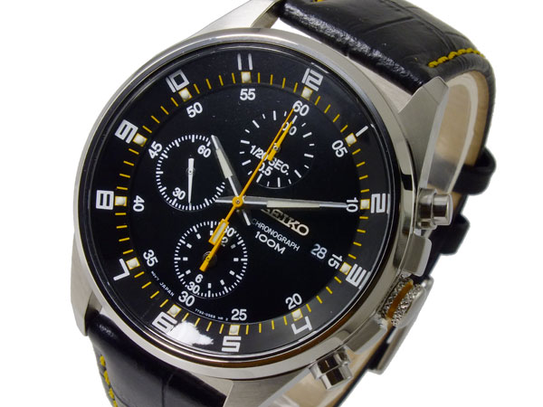 セイコー SEIKO 逆輸入 クロノグラフ メンズ 腕時計 SNDC89P2 ブラック レザーベルト