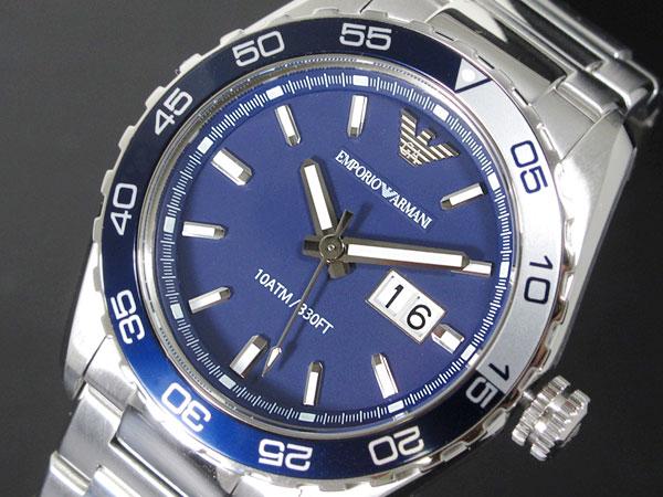 エンポリオ アルマーニ EMPORIO ARMANI メンズ 腕時計 AR6048 ネイビー×シルバー メタルベルト ベルト調整工具無料/送料無料/EMPORIO ARMANI 時計 腕時計 ウォ良質