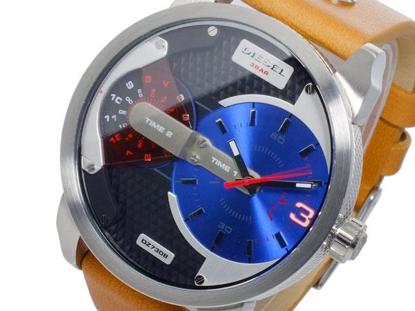 ディーゼル DIESEL デュアルタイム ブラウンレザーベルト 腕時計 メンズ DZ7308 ブルー 送料無料/DIESEL ディーゼル 時計 腕時計 ウォッチ