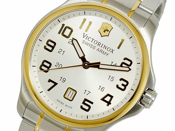 ビクトリノックス VICTORINOX スイス製 クオーツ メンズ 腕時計 241362 ホワイト ゴールド×シルバー メタルベルト ベルト調整工具無料/送料無料/VICTORINOX 時計 腕時計 ウォッチ