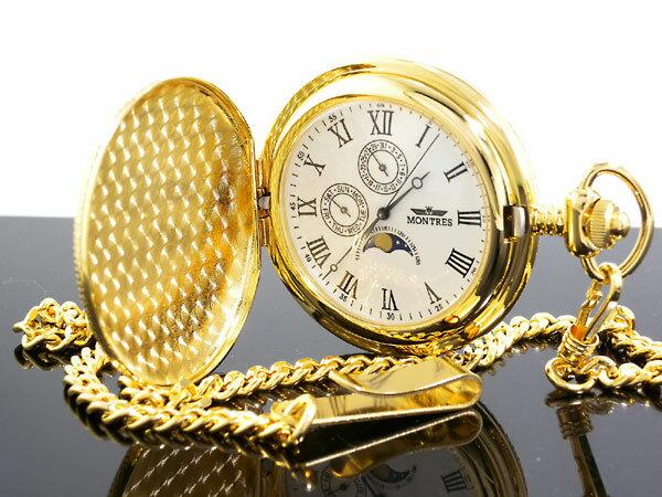 モントレス MONTRES ムーンフェイズ マルチカレンダー 懐中時計 ゴールド ローマ数字 MS-933S-GR メンズ