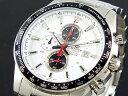 カシオ CASIO エディフィス 逆輸入 クロノグラフ メンズ 腕時計 EF-547D-7A1 ホワイト×ブラック シルバー メタルベルト