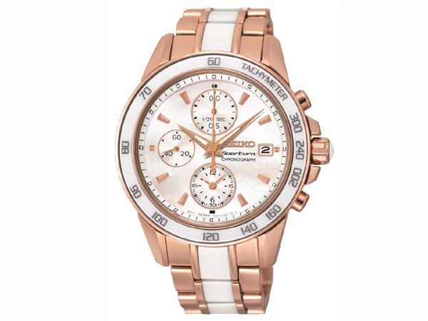 セイコー SEIKO スポーチュラ 逆輸入 セラミック クロノグラフ レディース 腕時計 SNDW98 ローズゴールド ベルト調整工具無料/送料無料/SEIKO 時計 腕時計 ウォッチ 逆輸