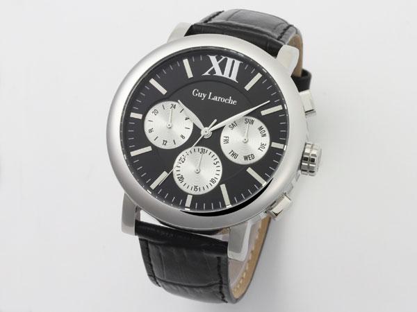 Guy Laroche ギラロッシュ マルチファンクション メンズ 腕時計 GS1402-02 ブラック×シルバー レザーベルト 送料無料/Guy Laroche ギ・ラロッシュ 時計 腕時計 ウォッチ