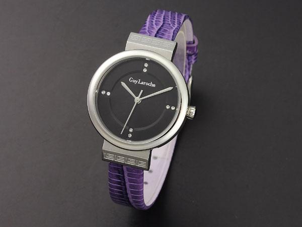 Guy Laroche ギラロッシュ ジルコニア クオーツ レディース 腕時計 L5004-02 ブラック×パープル レザー 送料無料/Guy Laroche ギ・ラロッシュ 時計 腕時計 ウォッチ【貴重】