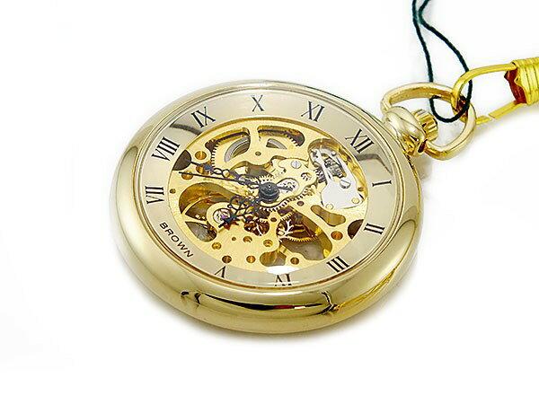 ブラウン BRAUN スケルトン 手巻き 懐中時計 ゴールド ローマ数字 メンズ BN-925J-GG