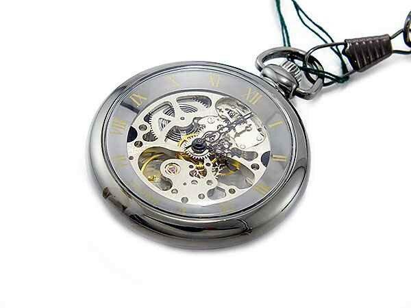 ブラウン BRAUN スケルトン 手巻き 懐中時計 ブラック×シルバー ローマ数字 メンズ BN-925J-UW