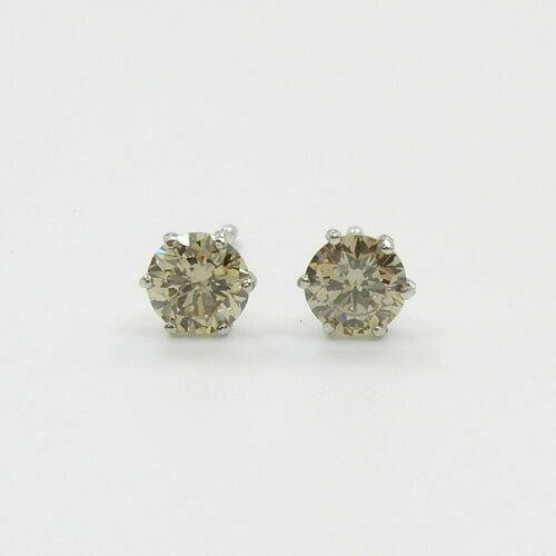 プラチナ(PT900)シャンパンカラー ダイヤモンド0.38ctx2(トータル0.76カラット)六本爪ピアス(通常の芯・シリコンキャッチ付)送料無料 送料無料