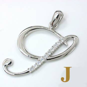 K18WG天然ダイヤイニシャルペンダントヘッド「J」typeAAA