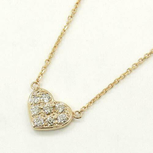 18金ピンクゴールド ダイヤモンド ハートネックレス typeAA【送料無料】 【送料無料】