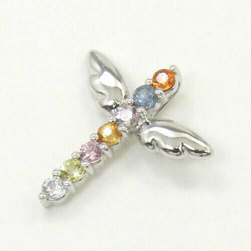 K18WG/K18 2種類の地金よりお選びください。ファンシーサファイヤ キセキアミュレット天使の羽根クロスペンダントヘッド 【送料無料】