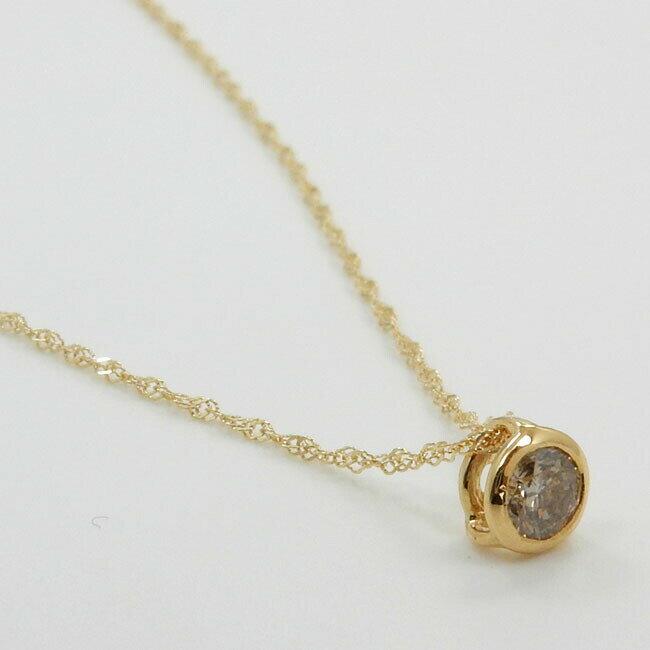 18金ゴールド(K18)ライトブラウンダイヤモンド0.15カラット SI2クラリティ 0.15ctペンダントネックレス(スクリューチェーン) 送料無料