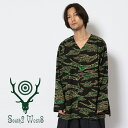 ☆SALE|SOUTH2 WEST8/サウスツーウエストエイト V Neck Army Shirt-printed Flannel シャツ メンズ ※セール/アウトレット品につき交換 返品不可