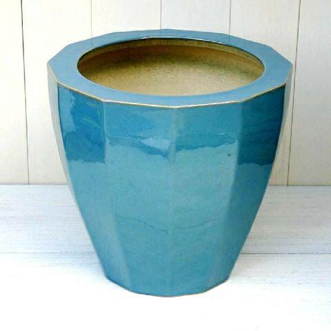 鉢カバー大型おしゃれNE12(白/黒/青)L<47cm16号ホワイトブラックブルー陶器信楽焼最高級シ