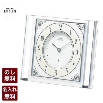 Inventory and ☆ ▽ commitment clock Seiko emblem white marble and glass combination HW565W