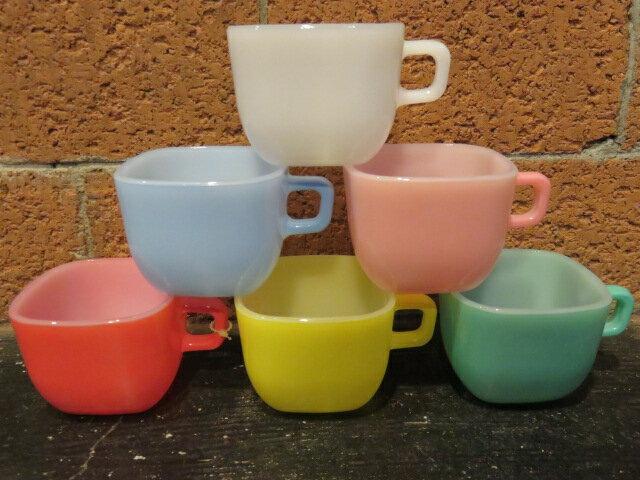 ■グラスベイク(Glasbake)■リプトン スープマグ デッドストック6個セット■ホワイト/オレンジ/ピンク/ブルー/イエロー/グリーン■1960年代製造■送料無料の写真