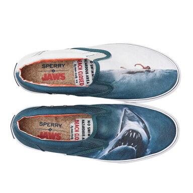 Jaws Striper Slip On Sneaker Shark Attack STS13883: Grey / White