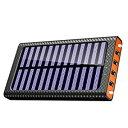 モバイルバッテリー ソーラーチャージ 24000mah超大容量 急速充電器 QuickCharge TSSIBE iPhone / Andoroid 電源充電可 3USB出力ポート 二個LEDランプ搭載 太陽光で充電できる(オレンジ)