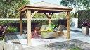 ガゼボ ウッドガゼボ Wood Gazebo 約 360cm×360cm×高さ300cm 柱径約18cm ガーデン パーゴラ YARDISTY